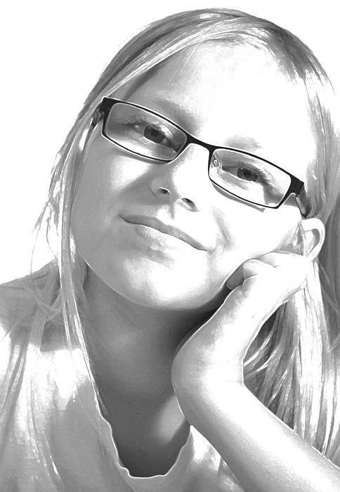 Photograph of young girl edited into black/white and added the technique of glowing edges