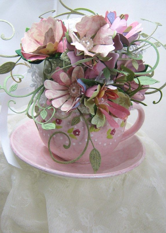 Paper flower bouquet using dies.  Would be very pretty sitting on a lady's desk.