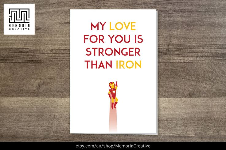 https://www.etsy.com/listing/201786220/i-love-you-card-ironman-card-valentines  #IronMan #Marvel #Avengers #AgeofUltron