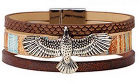 bracelet, cuir,cuir PU,arc en ciel,marron,multi rangs,aigle,oiseau,argenté,fermoir magnétique,unisexe,tendance,vintage,bohème,fait main de la boutique POUDREDOZ sur Etsy