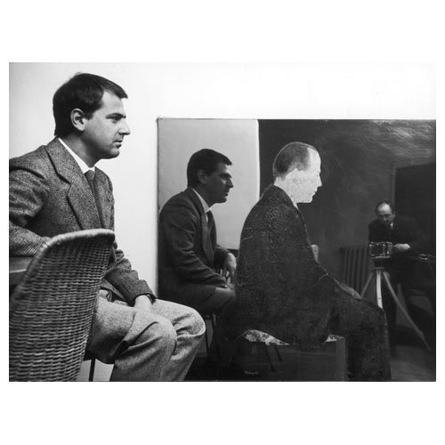 Seated Man, 1962 painted tissue paper on polished stainless steel mounted on canvas, cm 125 x 125 Private Collection, Bruxelles Photo: P. Bressano (in the picture: Michelangelo Pistoletto sitting in front of the work, Torino, 1962)