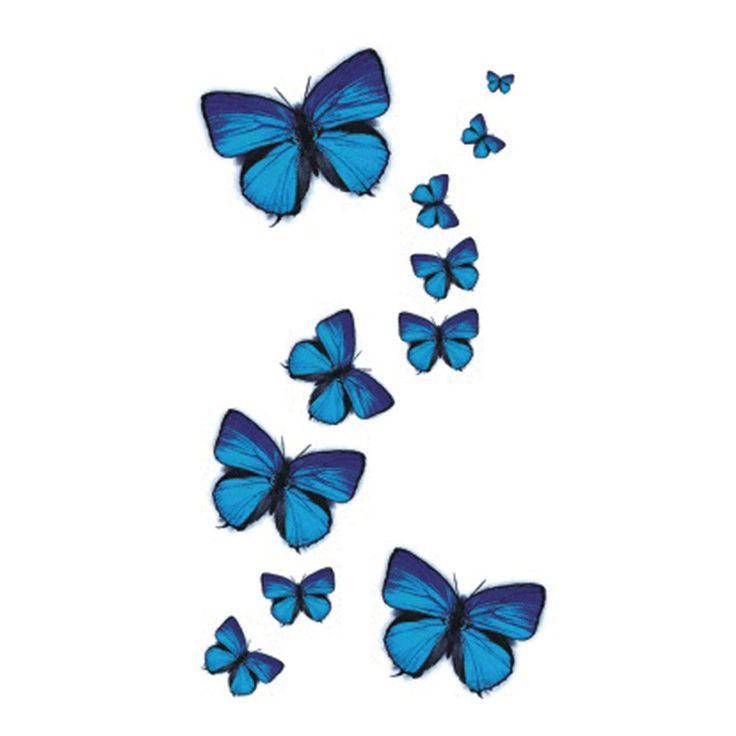 Wyuen NEW Hot Design Temporary Tattoo for Adult Waterproof Tatoo Sticker Body Art Blue Butterfly A-049 Fake Tattoo Man Woman #Affiliate