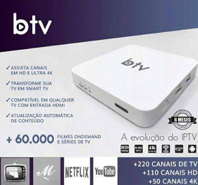 Receptor BTV 4K FTA H-TV BOX Full HD 1080p WiFi CPU/GPU 4Core + Garantia 12 Meses