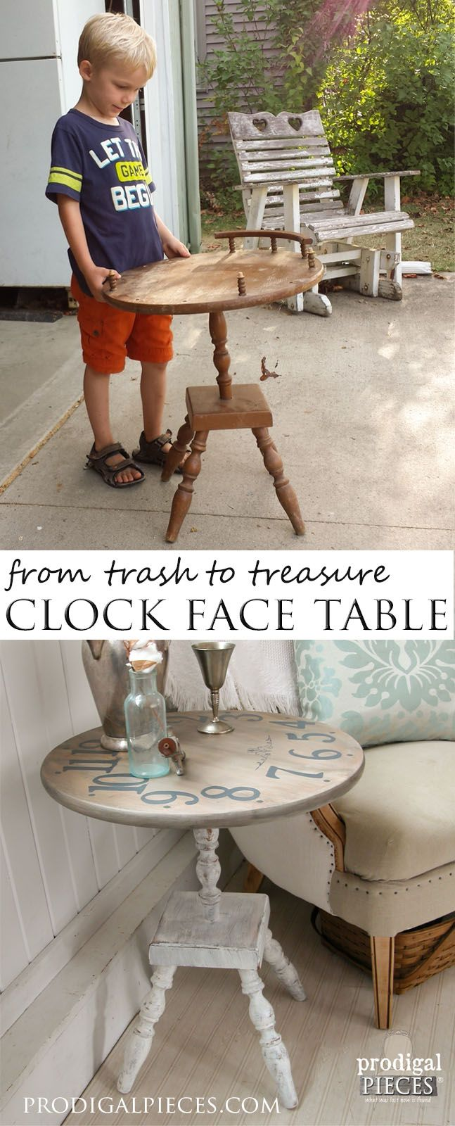 Beaten up table set out for trash turned it into a vintage style clock face table. A trash to treasure transformation by Prodigal Pieces www.prodigalpieces.com #prodigalpieces