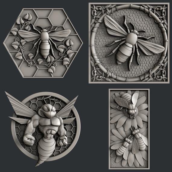 3d STL models for CNC set bee Cnc, Plaster art, Bee