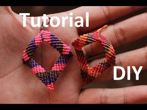M tutorial aros macrame rombos diamantes | earrings macrame sociales facebook: https://www.facebook.com/TheArtemanual?fref=ts blog : http://diyartemanual.blogs...
