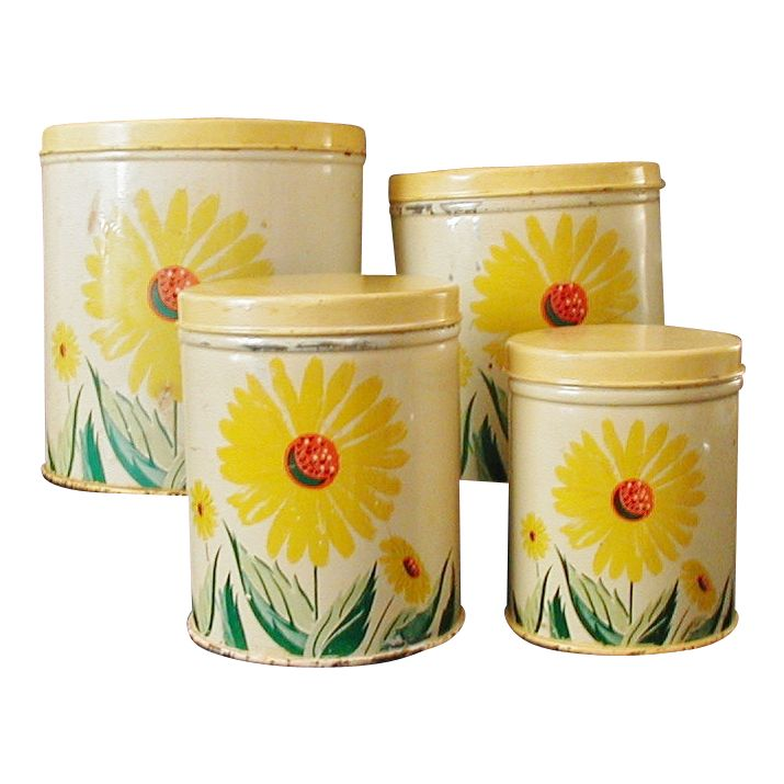 Vintage tin sunflower kitchen canisters set of 4 vintage for Kitchen set from the 90 s