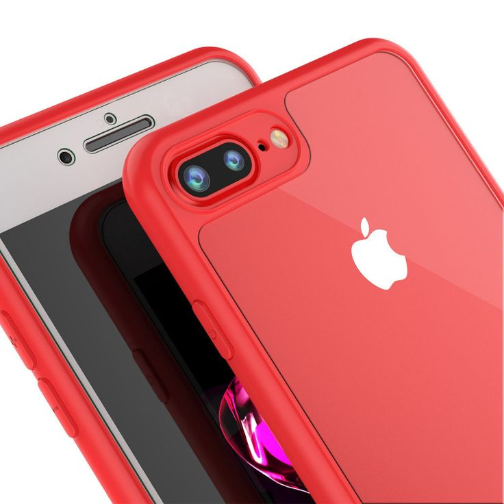iPhone 7+ Plus Case, Punkcase [MASK Series] [RED] Full Body Hybrid Dual Layer TP…