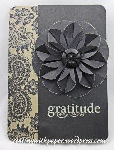 handmade card ... dahlia fold focal point ... monochromatic gays ... simple design to focus on textures of the flower ...