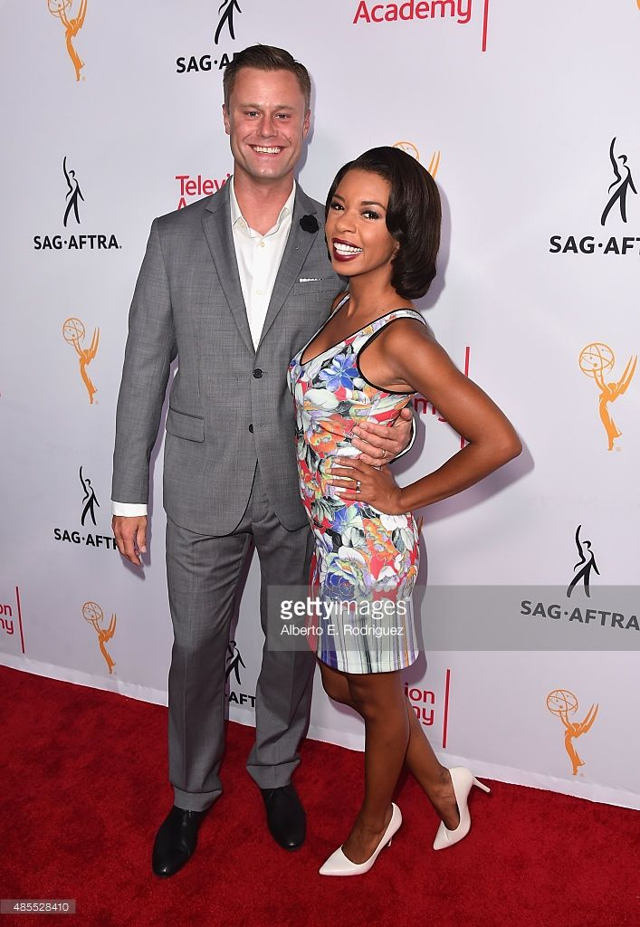 Actors Eric Nenninger and Angel Parker attend a cocktail party celebrating dynamic and diverse nominees for the 67th Emmy Awards hosted by the Academy of Television Arts & Sciences and SAG-AFTRA at Montage Beverly Hills on August 27, 2015 in Beverly Hills, California.