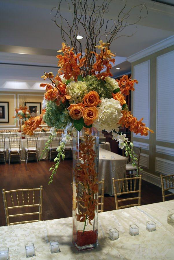 wedding tall flower arrangements orange flowers centerpieces fall centerpiece floral vase miami roses church fl triasflowers vases events decor hydrangeas