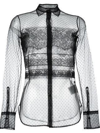 Купить черную прозрачную блузку в горошек