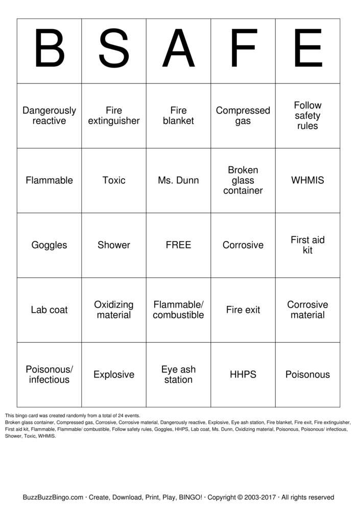 Safety Bingo Cards To Download Print And Customize For The Office