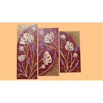 Quadri moderni floreali trittico fiori in rilievo for Quadri piccoli moderni
