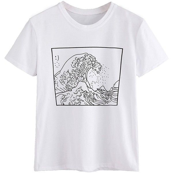 Romwe Women's Short Sleeve Top Casual The Great Wave Off Kanagawa... ($9.99) ❤ liked on Polyvore featuring tops, t-shirts, short sleeve knit tops, short sleeve t shirt, graphic tops, graphic design tees and graphic print top
