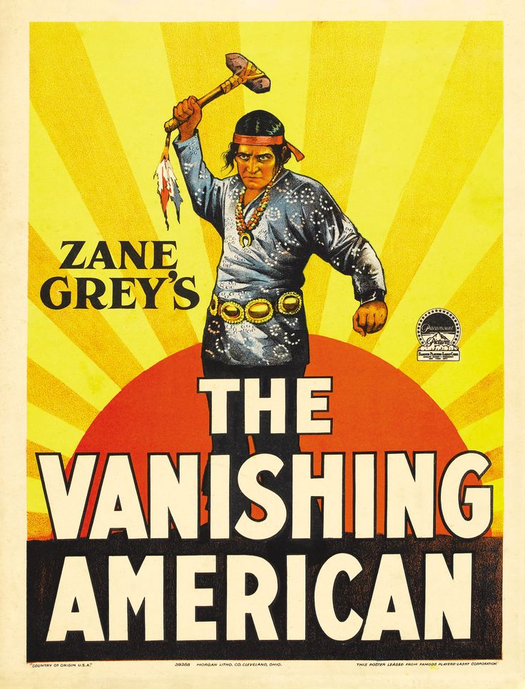 THE VANISHING AMERICAN (1925) - Richard Dix - Lois Wilson - Noah Beery - Malcolm McGregor - Based on novel by Zane Grey - Directed by George B. Seitz - Paramount - Movie Poster.