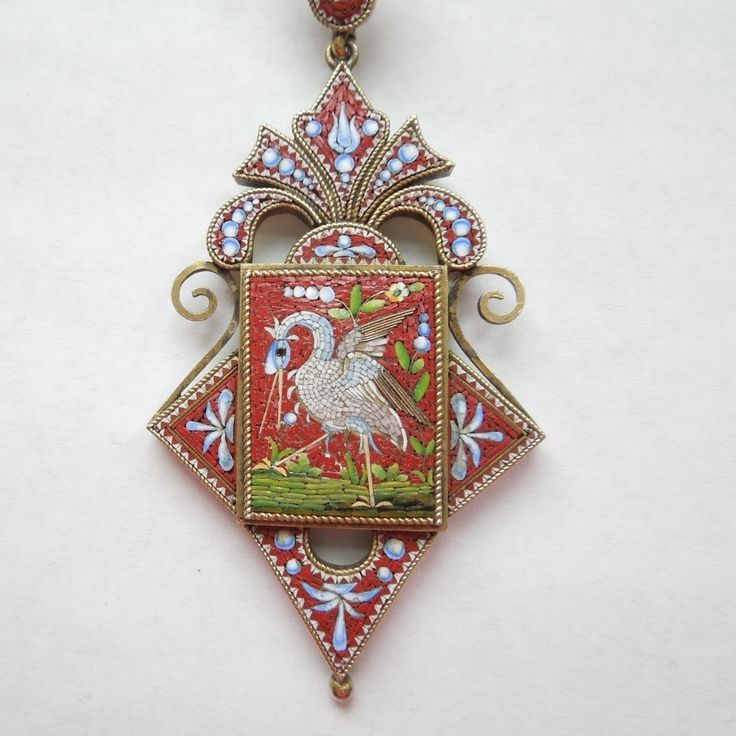Antique Micromosaic Crane Pendant with Compartment from The Big O at 50% off during the 72 Hour Ruby Lane Red Tag Sale Event. Sale starts Wed. July 30th at 8am PST and runs through Saturday, Aug. 2nd at 8am PST