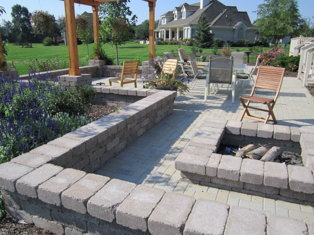 Brick Patio With Square Fire Pit