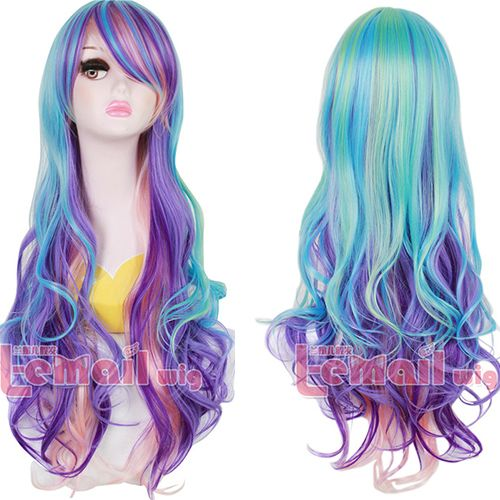Cheap Cosplay Wigs, Buy Directly from China Suppliers: Free Shipping 80cm Synthetic Long Purple BlueWavy Rainbow Colorful Cosplay Wig   Color: colorful   Material: Sythe