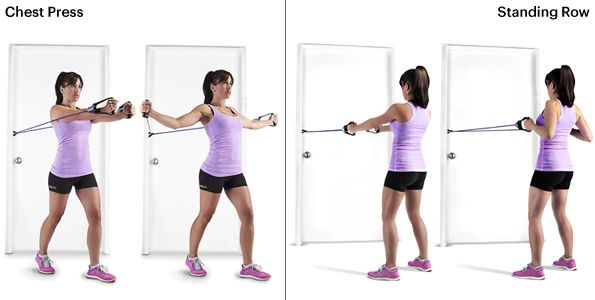 Get a full body workout in 15-min with interchangeable SKLZ resistance bands. This is the Chest Press and Standing Row. #SelfMagazine