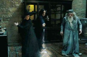 """2005 -- Maggie Smith as Professor McGonagall, Alan Rickman as Professor Severus Snape and Michael Gambon as Headmaster Albus Dumbledore in """"Harry Potter and the Goblet of Fire."""""""