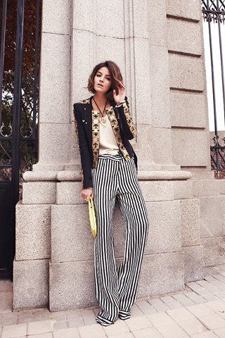 striped trousers: