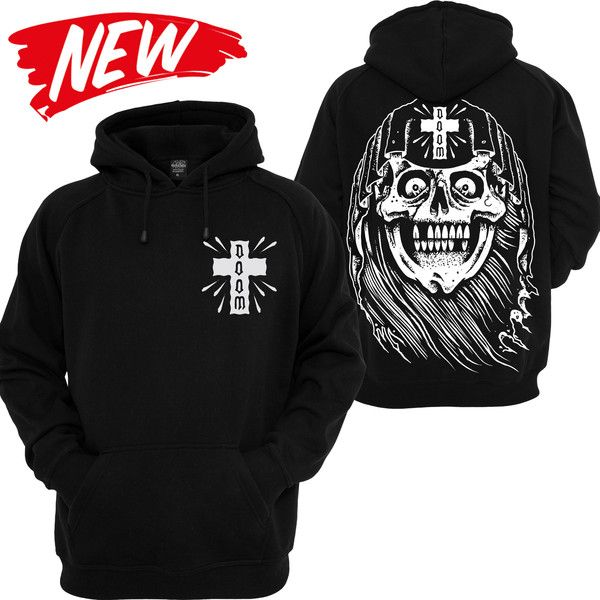 Buy our - Doom Grim Reaper Skull Traditional Tattoo Clothing Cross Hoodie Reaper Hooded Sweatshirt Pentagramm Dark Underground Satan Devil Evil Stay Cold Apparel