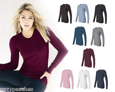 Bella Ladies Thermal Knit Long Sleeve T-Shirt Size S-2XL Irene Top 8500 Womens