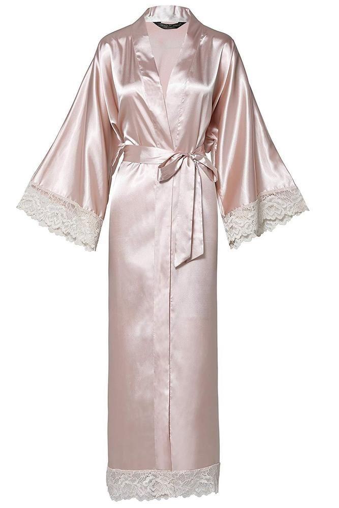 Lace Trimmed Kimono Robe