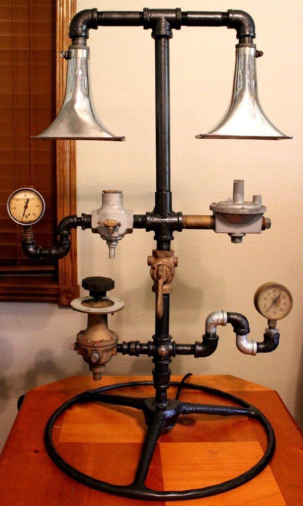 Industrial Steampunk Lamp  Tractor Wheel Salvage Brass Regulator Pressure Gauge