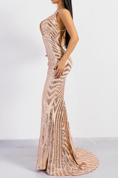 ddc419720a Buy Honey Couture LILLEY Gold Sequin Low Back Mermaid Evening Gown Dress at  One Honey Australian