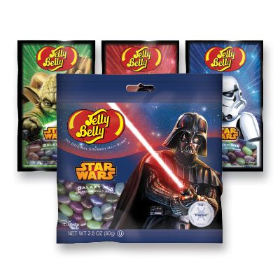 Jelly Belly Star Wars Collection.Ingredients: Sugar, corn syrup, modified food starch, contains 2% or less of the following: blueberry puree, blackberry puree, apple juice concentrate, passion fruit juice concentrate, grape juice concentrate, citric acid, fumaric acid, tartaric acid, sodium citrate, sodium lactate, acacia gum, natural and artificial flavors, color added, blue 2 lake, red 40, blue 1 lake, red 40 lake, yellow 5 lake, blue 1, yellow 5, beeswax, carnauba wax, confectioner's…