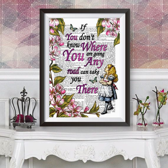 Alice in wonderland wall art dictionary book by TheAncientWords
