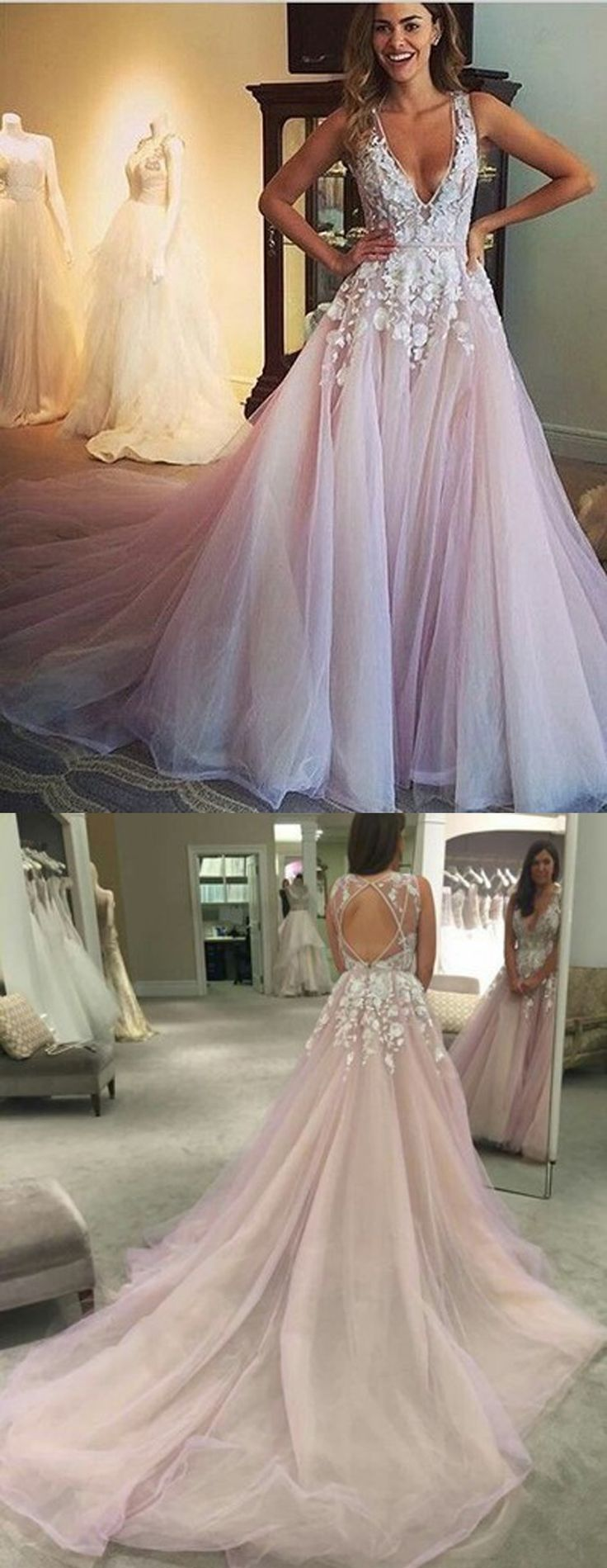 Charming Wedding Gown,Backless Tulle Wedding Gown,Gorgeous A-line Scoop Long Wedding Dress,Prom Dress with Appliques,Lavender Dramatic Wedding Dress,Wedding Dresses,HJ68