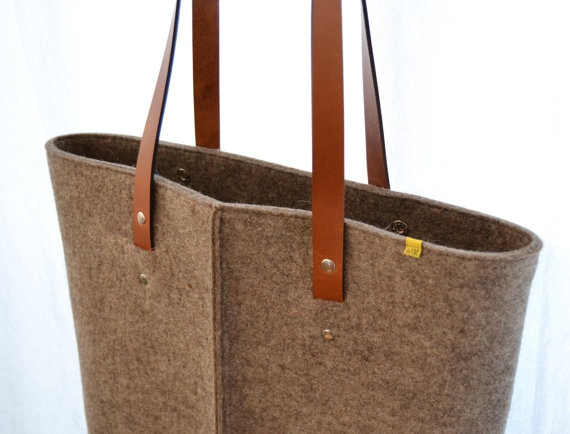 wool felt TOTE BAG with leather handles $100