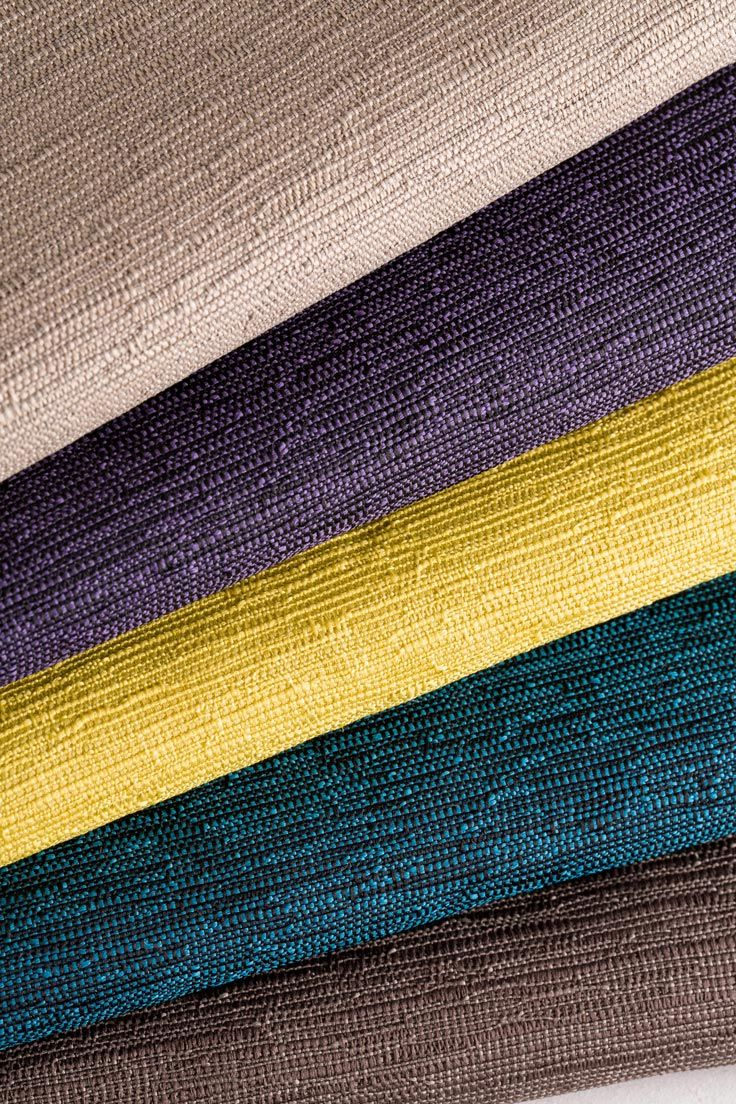 """New Colours in Design """"Siam"""" Hotel Fabric - from top, Husk, Dark Orchids, Citron, Dark Peacock, Donkey by HotelHome Australia. FR Hotel Fabric, Hotel Bedcoverings."""