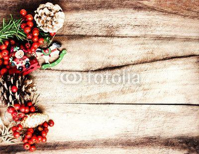 Vintage Christmas Decoration on natural wooden textured backgrou