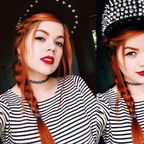 Image via We Heart It https://weheartit.com/entry/164292614 #black #blue #chapeu #emo #estilo #flowercrown #garotas #gingerhair #girl #hair #look #make #meninas #moda #modification #nails #oculos #orange #Piercings #red #rock #roupas #ruiva #style #tatoo #tatuagens #vermelho #cabelovermelho #ruivas #hairred #rockeira #modificação #olhosclaros #coroadeflores #batomred