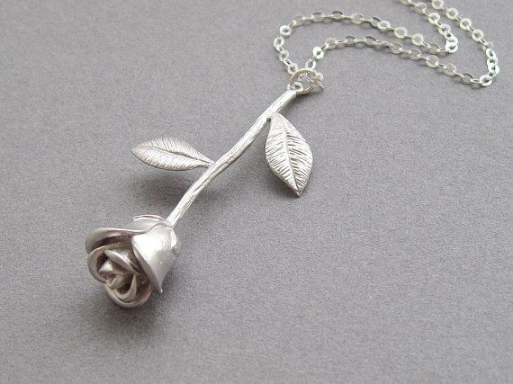 Long stemmed rose necklace sterling silver chain by sevenstarz, $21.00 - reminds me of Beauty and the Beast :)