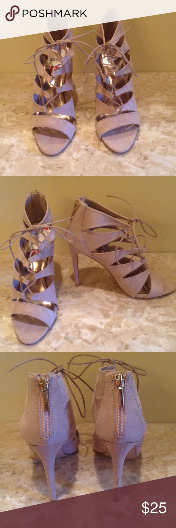 Madden Girl Raceyyy Madden girl lace up heels size 7.5. Color taupe, faux suede material. Madden Girl Shoes Heels