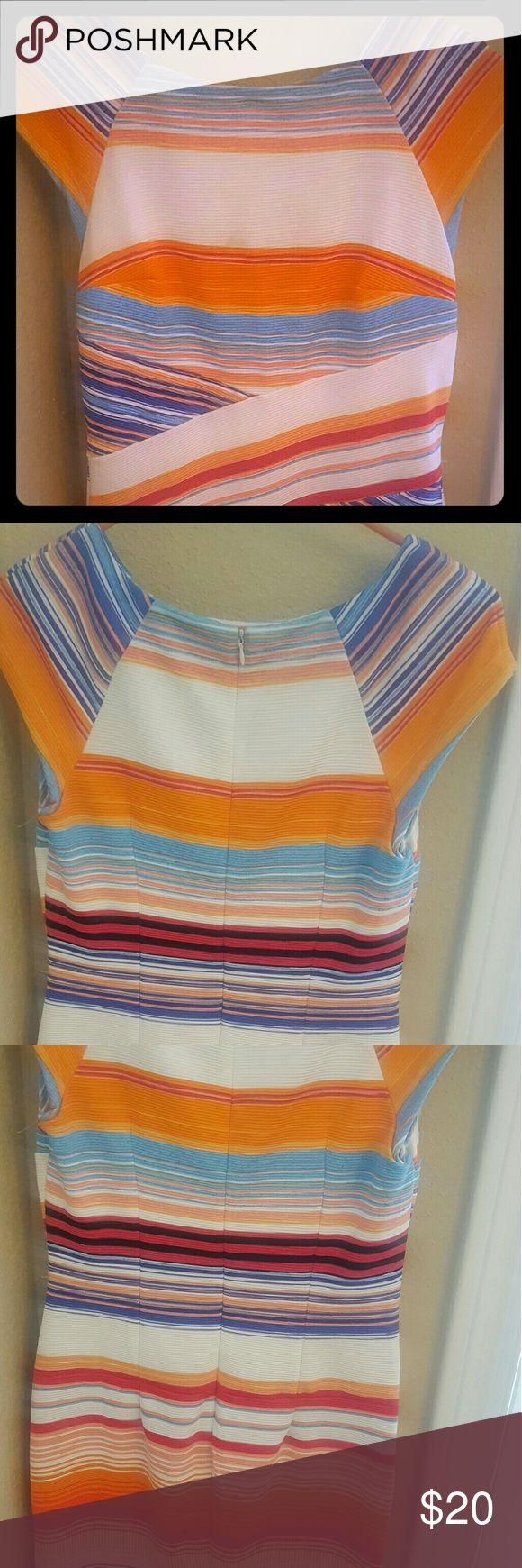 New York and Company Striped Body Con Dress Multi-Colored Striped Body Con Dress size small New Condition New York & Company Dresses Midi