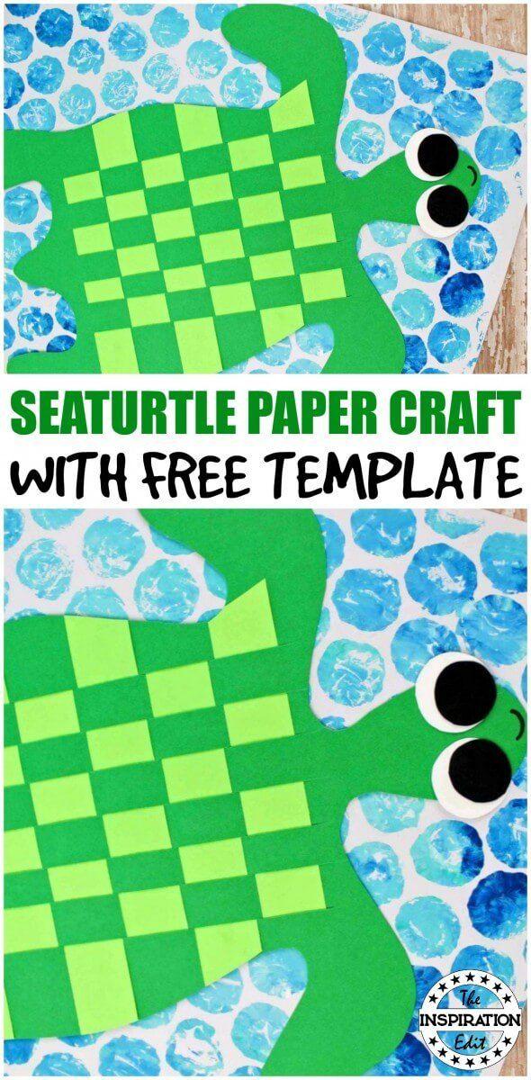 Preschool Paper Weave Ocean Sea Turtle Craft Turtle Crafts Arts