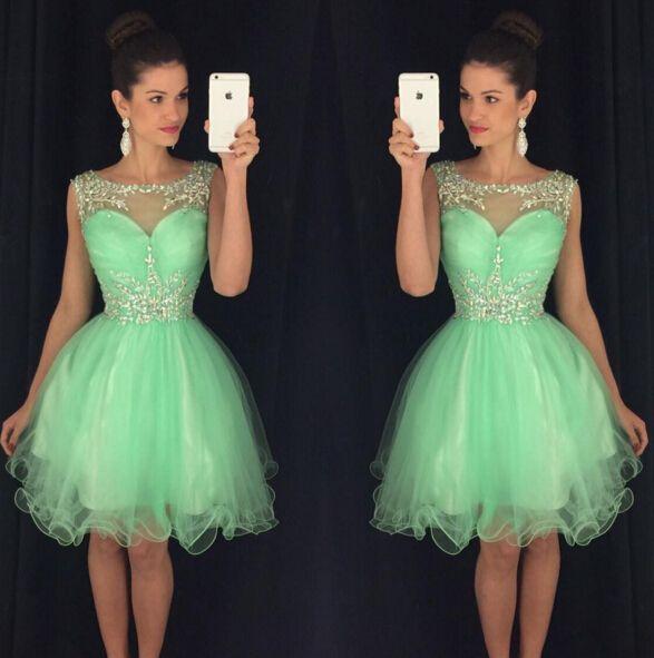 Cheap 2016 nueva Short Prom Party Homecoming traje de graduación con una línea escarpada del cuello verde manzana Tulle perlas cristales barato, Compro Calidad Vestidos de baile directamente de los surtidores de China:         &nbs