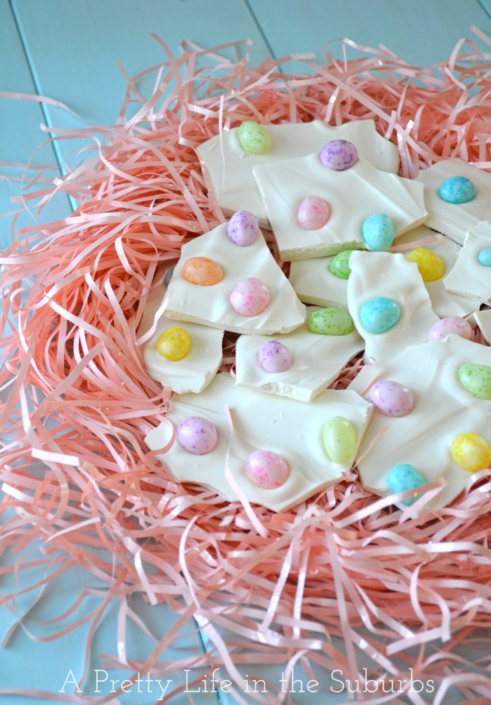 Jelly Bean Bark! {quick and easy 2-ingredient Easter treat!!} #easter #desserts #jellybeans