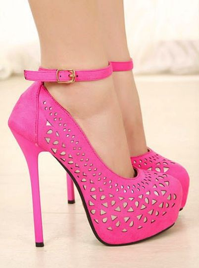 Girly Pink Strappy High Heel Fashion Shoes