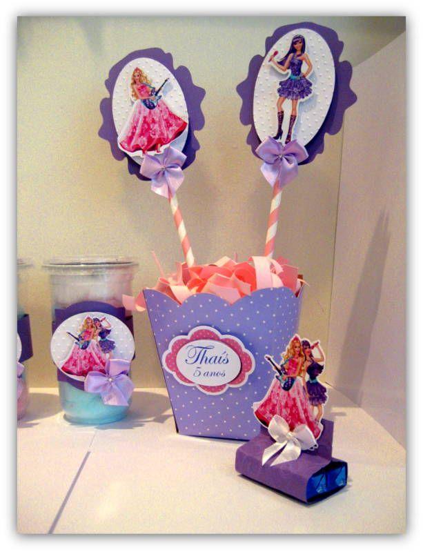 centro de mesa barbie pop star  Festa Personalizada  Pinterest