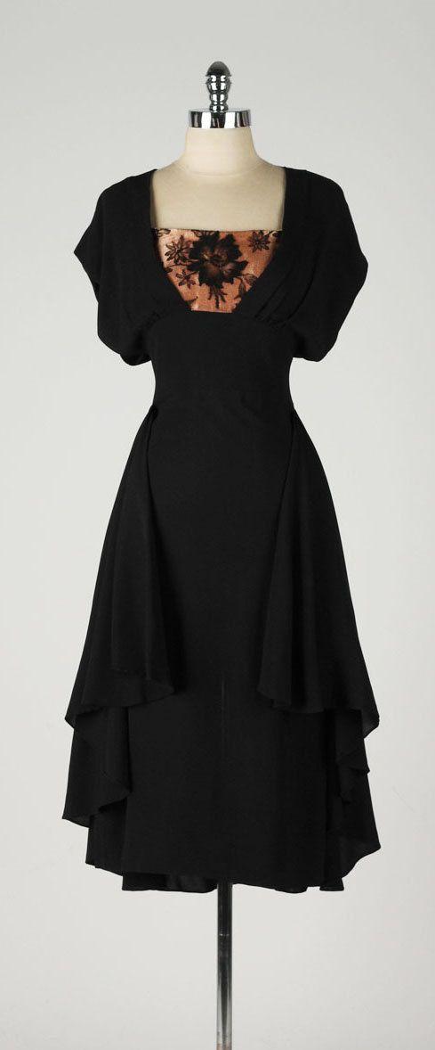 vintage 1940s dress . rayon crepe . apricot by millstreetvintage