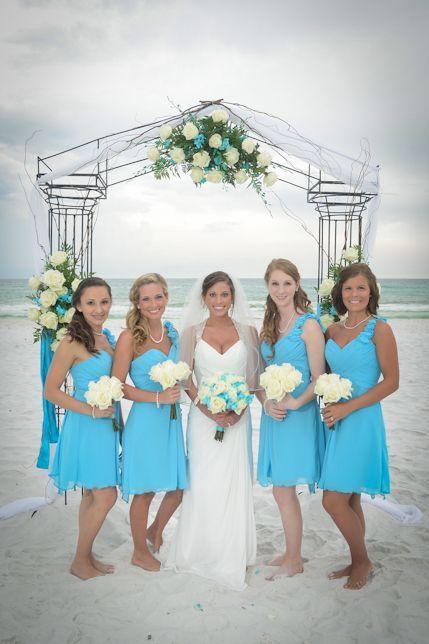Aqua bridesmaid dresses for beach wedding