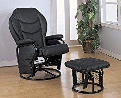 Black Leatherette Cushion Glider Rocker Chair w/Ottoman
