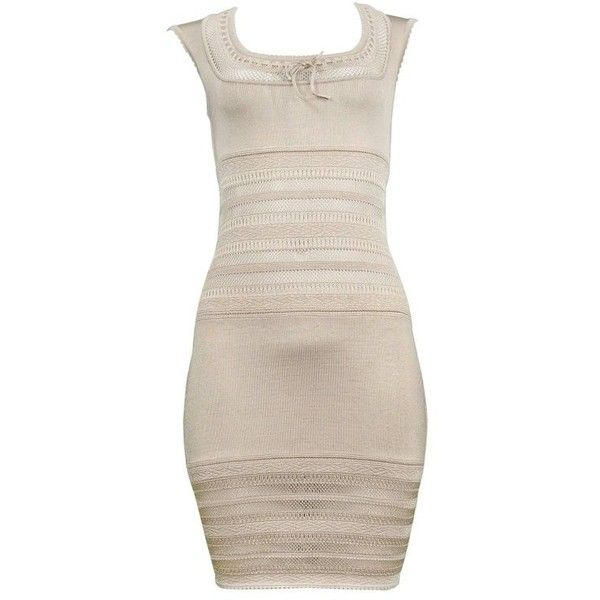 Preowned Iconic Alaia Neutral Tone Lace Bodycon Knit Dress 1990's... (€1.455) ❤ liked on Polyvore featuring dresses, beige, day dresses, vintage cocktail dresses, beige bodycon dress, fitted lace dress, vintage lace dress and body con dress